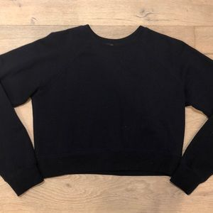 Forever 21 Navy Blue Cropped Long Sleeve Sweater